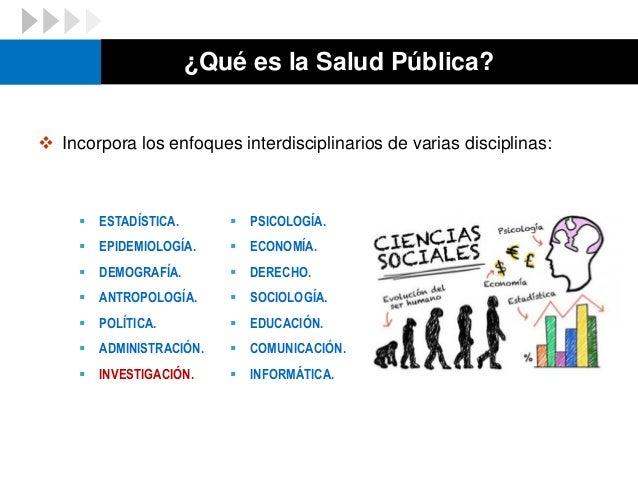 ¿Qué es la Salud Pública?  Incorpora los enfoques interdisciplinarios de varias disciplinas:  PSICOLOGÍA.  ECONOMÍA.  ...
