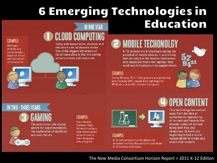 6 Emerging Technologiesin Education         The New Media Consortium Horizon Report > 2011 K-12 Edition