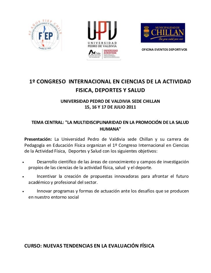 OFICINA EVENTOS DEPORTIVOS      1º CONGRESO INTERNACIONAL EN CIENCIAS DE LA ACTIVIDAD                    FISICA, DEPORTES ...