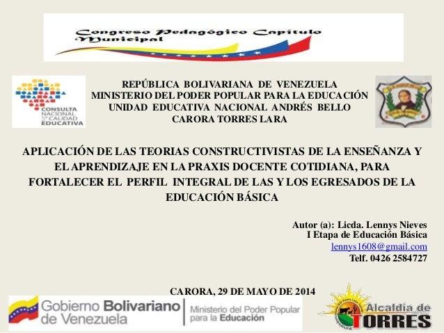 Autor (a): Licda. Lennys Nieves CARORA, 29 DE MAYO DE 2014 REPÚBLICA BOLIVARIANA DE VENEZUELA MINISTERIO DEL PODER POPULAR...