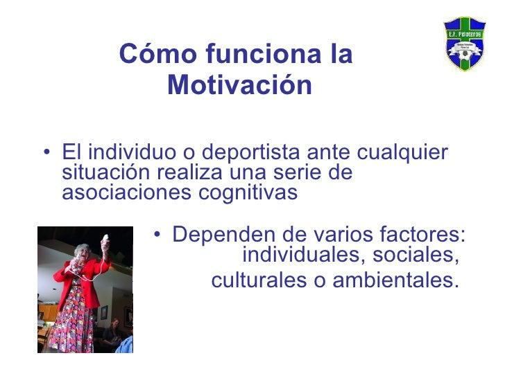 Cómo funciona la  Motivación <ul><li>El individuo o deportista ante cualquier situación realiza una serie de asociaciones ...