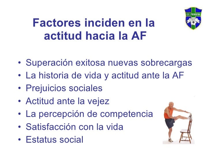 Factores inciden en la  actitud hacia la AF <ul><li>S uperación exitosa nuevas sobrecargas  </li></ul><ul><li>La historia ...
