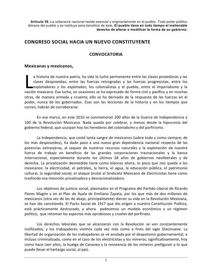 Artículo 39. La soberanía nacional reside esencial y originariamente en el pueblo. Todo poder público   dimana del pueblo ...