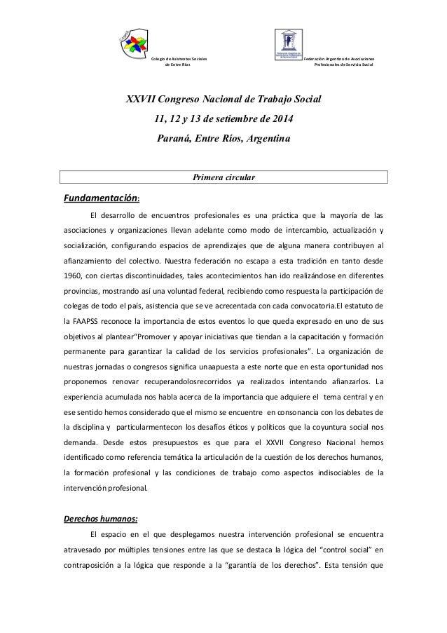 Colegio de Asistentes Sociales de Entre Ríos  Federación Argentina de Asociaciones Profesionales de Servicio Social  XXVII...