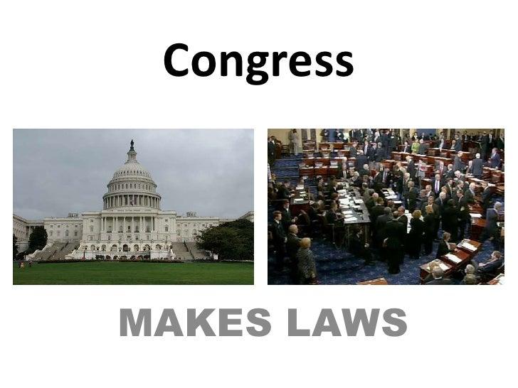 Congress<br />MAKES LAWS<br />
