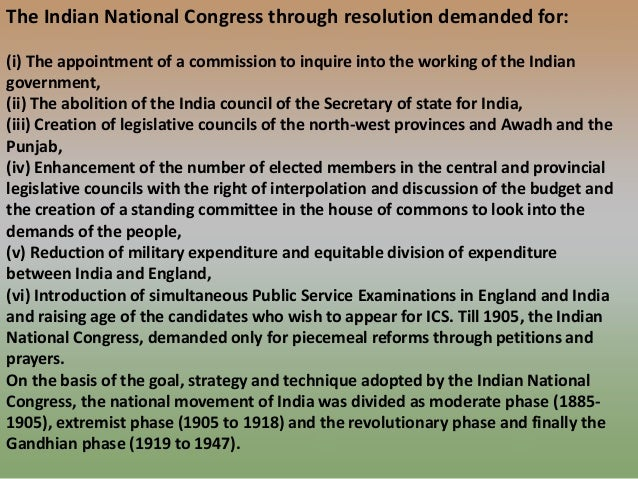 indian national congress 1885 objective