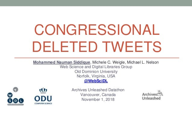 CONGRESSIONAL DELETED TWEETS Mohammed Nauman Siddique, Michele C. Weigle, Michael L. Nelson Web Science and Digital Librar...