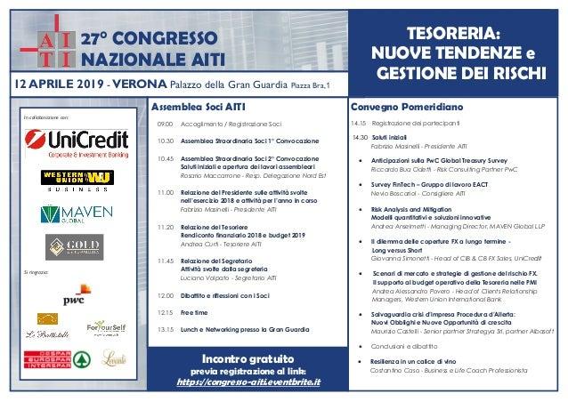 27° CONGRESSO NAZIONALE AITI Convegno Pomeridiano 14.15 Registrazione dei partecipanti 14.30 Saluti iniziali Fabrizio Masi...
