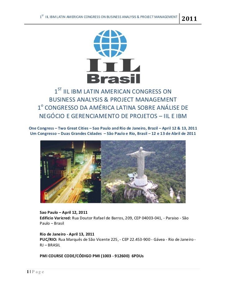 ST     1     IIL IBM LATIN AMERICAN CONGRESS ON BUSINESS ANALYSIS & PROJECT MANAGEMENT                                    ...