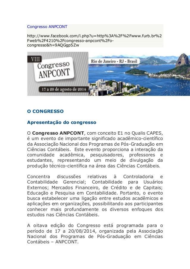 Congresso ANPCONT http://www.facebook.com/l.php?u=http%3A%2F%2Fwww.furb.br%2 Fweb%2F4210%2Fcongresso-anpcont%2Fo- congress...