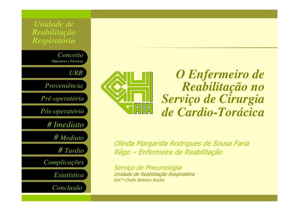 Cinesiterapia Respiratória Unidade de Reabilitação Respiratória         Conceito      Objectivos e Técnicas               ...