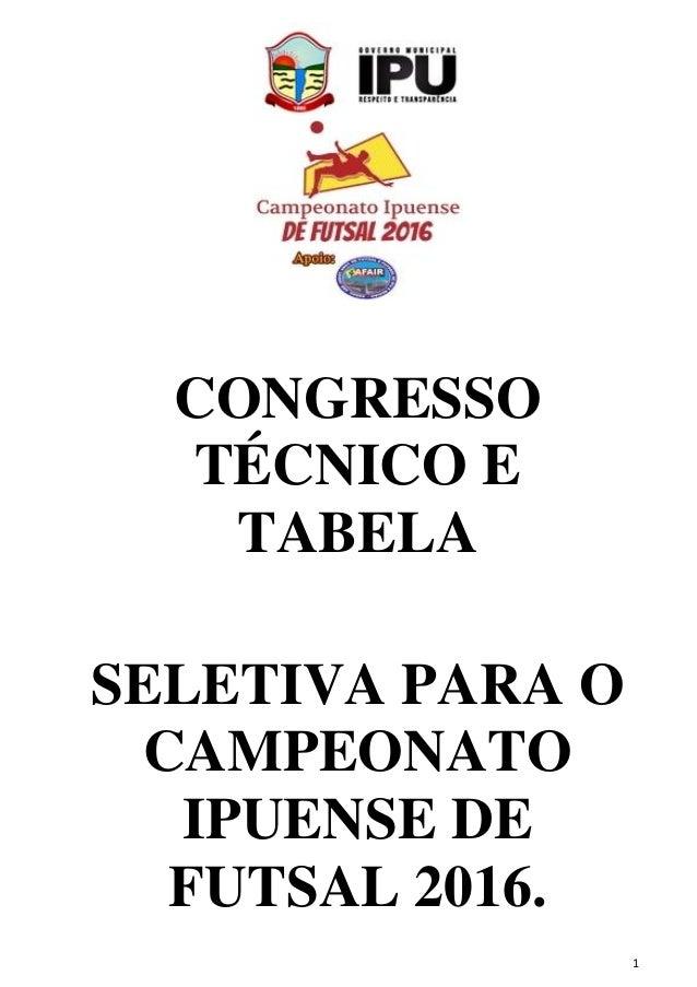 1 CONGRESSO TÉCNICO E TABELA SELETIVA PARA O CAMPEONATO IPUENSE DE FUTSAL 2016.