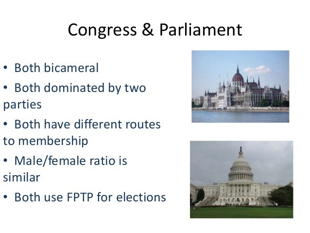 Congress & Parliament• Both bicameral• Both dominated by twoparties• Both have different routesto membership• Male/female ...
