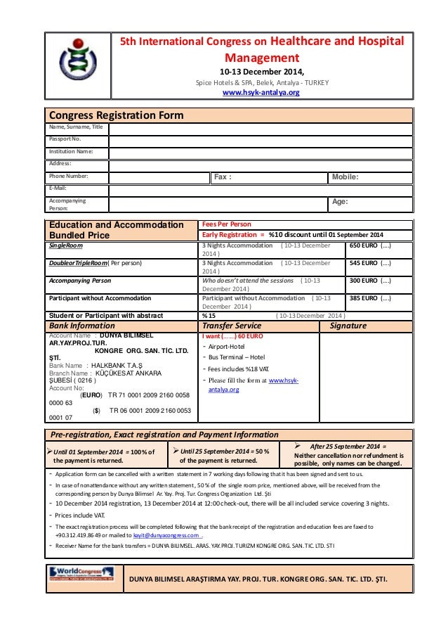 Congress registration form 5th international congress on healthcare 5th international congress on healthcare and hospital fees per person early registration 10 discount thecheapjerseys Image collections