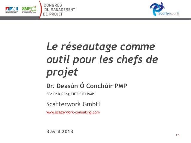 Le réseautage comme outil pour les chefs de projet Dr. Deasún Ó Conchúir PMP BSc PhD CEng FIET FIEI PMP  Scatterwork GmbH ...
