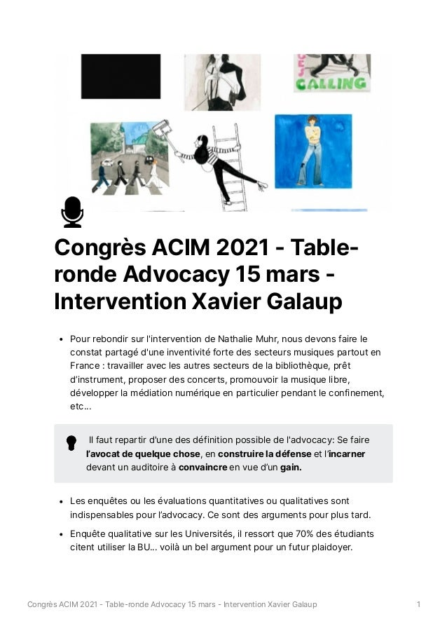 Advocacy - intervention de Xavier Galaup