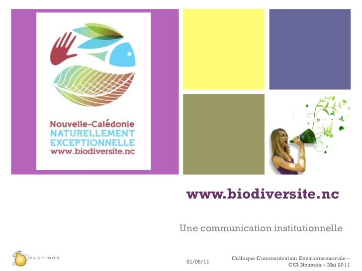 www.biodiversite.nc Une communication institutionnelle 01/06/11 Colloque Communication Environnementale – CCI Nouméa – Mai...