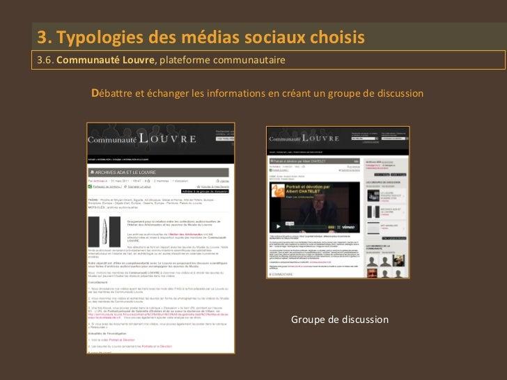 3. Typologies des médias sociaux choisis3.6. Communauté Louvre, plateforme communautaire          Débattre et échanger les...