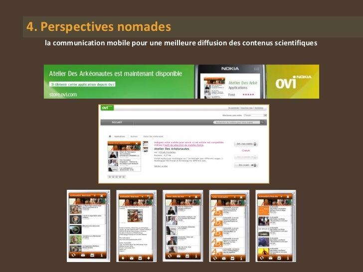 4. Perspectives nomades  la communication mobile pour une meilleure diffusion des contenus scientifiques