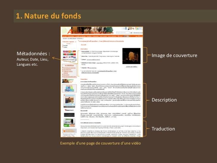 1. Nature du fondsMétadonnées :                                                        Image de couvertureAuteur, Date, Li...