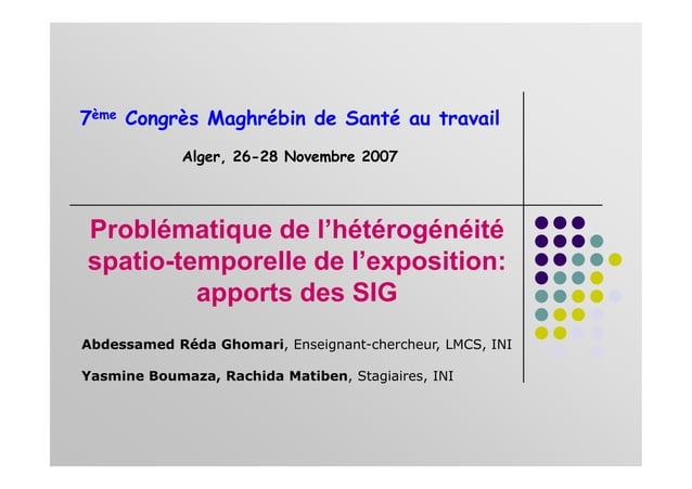 Problématique de l'hétérogénéité 7ème Congrès Maghrébin de Santé au travail Alger, 26-28 Novembre 2007 spatio-temporelle d...
