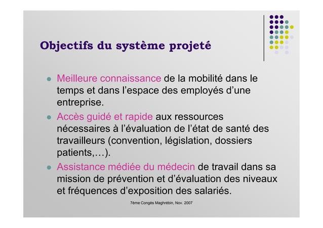 Objectifs du système projeté Meilleure connaissance de la mobilité dans le temps et dans l'espace des employés d'une entre...
