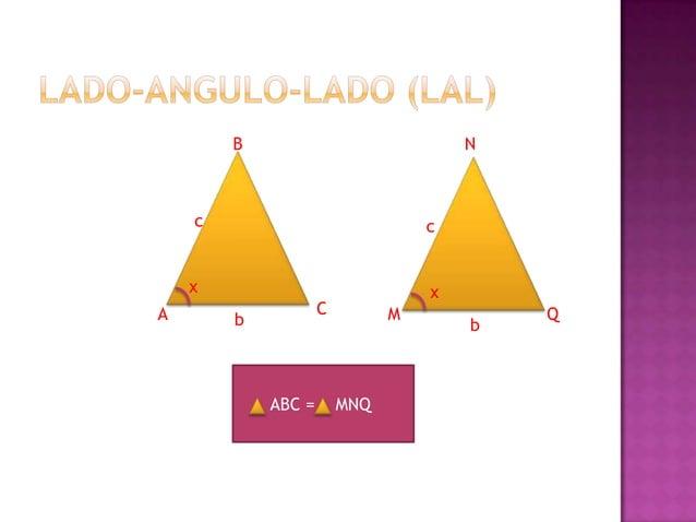 Dos triángulos son semejantes si sus ángulos interiores tiene igual medida respectivamente y sus lados homólogos son propo...