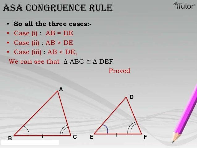 • So all the three cases:-• Case (i) : AB = DE• Case (ii) : AB > DE• Case (iii) : AB < DE,We can see that Δ ABC ≅ Δ DEFPro...