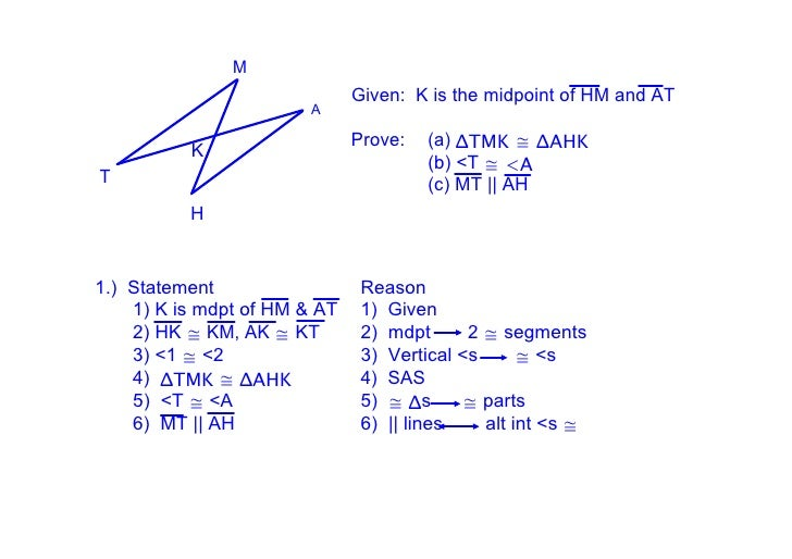 M                                Given:  K is the midpoint of HM and AT                         A                         ...