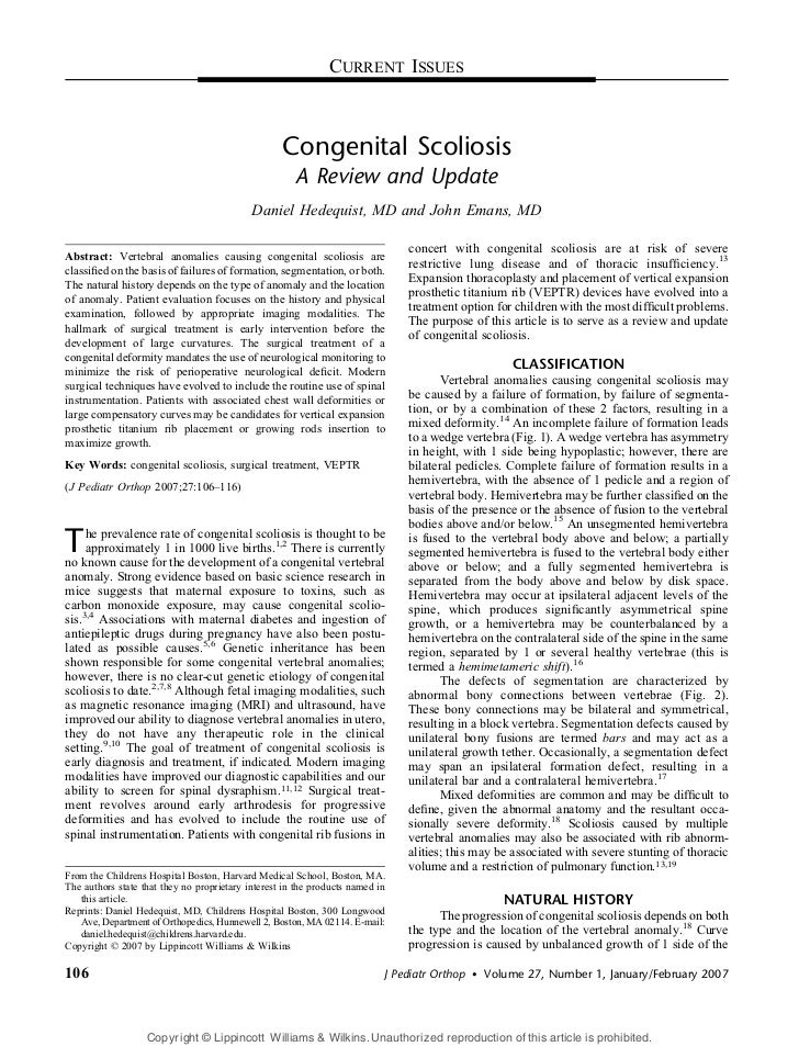 CURRENT ISSUES                                                   Congenital Scoliosis                                     ...