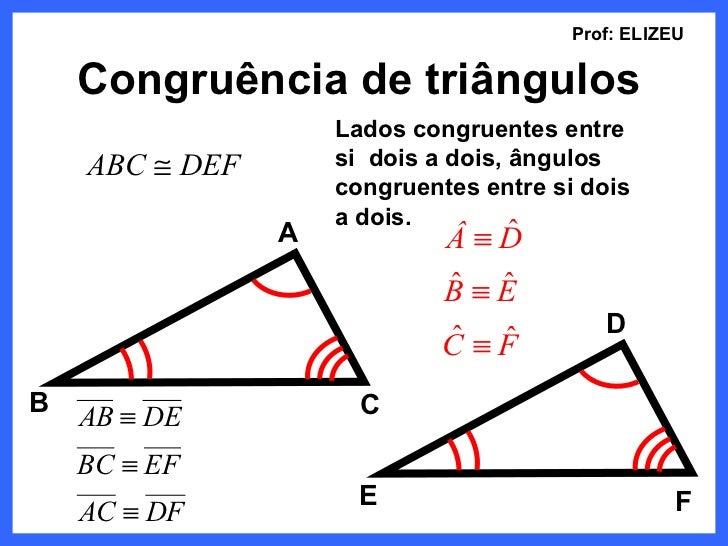 Prof: ELIZEU    Congruência de triângulos                    Lados congruentes entre    ABC ≅ DEF       si dois a dois, ân...