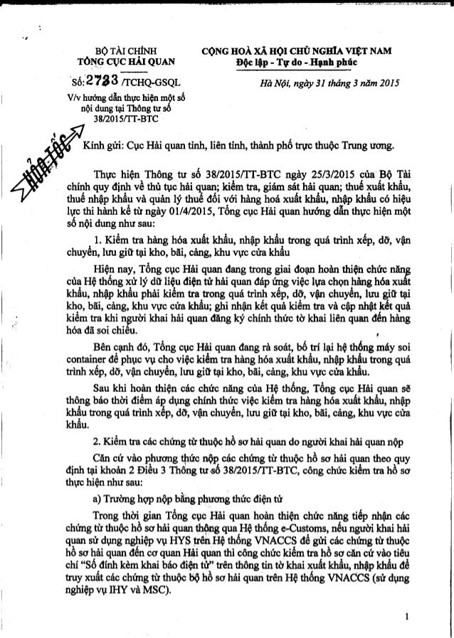 BỘ TÀI CI-IÍNH CỌNG.HoÀ XÃ HỘI CIIÙ NGHIA VIỆT NAM  Tòịịç CỤC HÁI QUAN Ðộc lập - Tự do -.Hạnhrphúc °Số:l`2 73 3 fI`CHQ;GSQ...