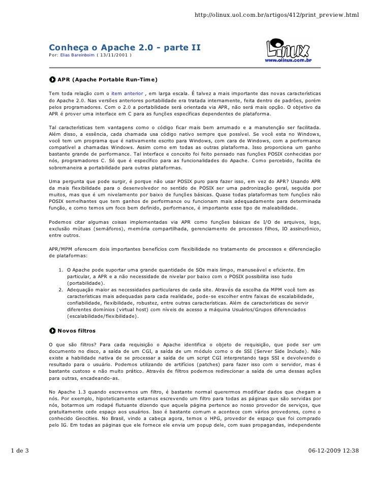 http://olinux.uol.com.br/artigos/412/print_preview.html              Conheça o Apache 2.0 - parte II          Por: Elias B...
