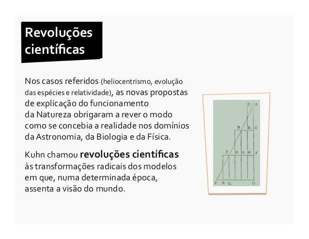 Revoluções  científicas  Nos casos referidos (heliocentrismo, evolução das espécies e relatividade)...