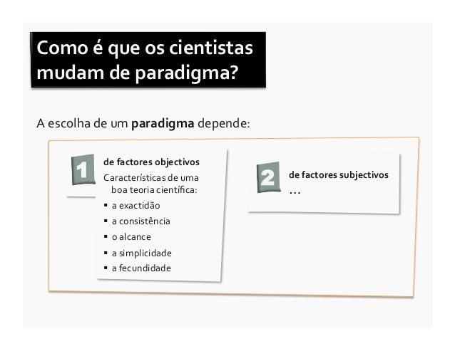 Como é que os cientistas mudam de paradigma? A escolha de um paradigma depende:            1...