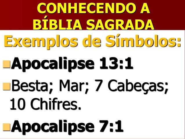 CONHECENDO ABÍBLIA SAGRADAExemplos de Símbolos:Apocalipse 13:1Besta; Mar; 7 Cabeças;10 Chifres.Apocalipse 7:1