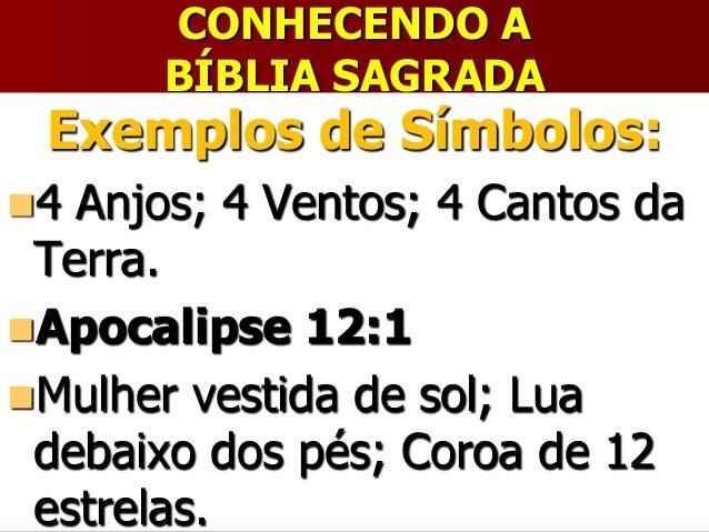 CONHECENDO ABÍBLIA SAGRADAExemplos de Símbolos:4 Anjos; 4 Ventos; 4 Cantos daTerra.Apocalipse 12:1Mulher vestida de sol...