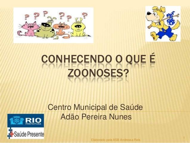 CONHECENDO O QUE É ZOONOSES? Centro Municipal de Saúde Adão Pereira Nunes Elaborado pela ASB Andressa Reis  1