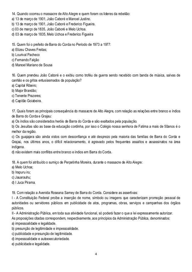 4 14. Quando ocorreu o massacre de Alto Alegre e quem foram os lideres da rebelião: a) 13 de março de 1901, João Caboré e ...