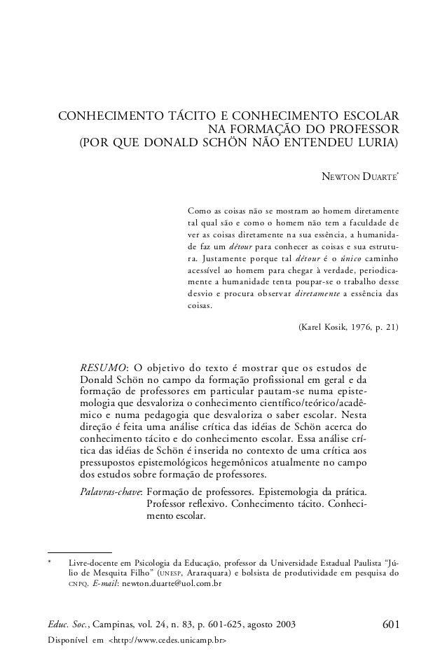 601Educ. Soc., Campinas, vol. 24, n. 83, p. 601-625, agosto 2003 Disponível em <http://www.cedes.unicamp.br> CONHECIMENTO ...