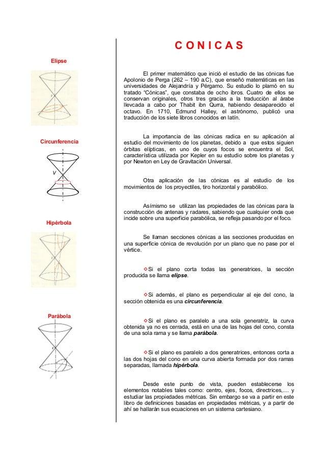 ElipseCircunferenciaVHipérbolaParábolaC O N I C A SEl primer matemático que inició el estudio de las cónicas fueApolonio d...