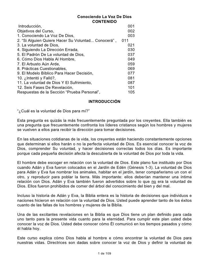 Conociendo La Voz De Dios                                           CONTENIDO  Introducción,                              ...