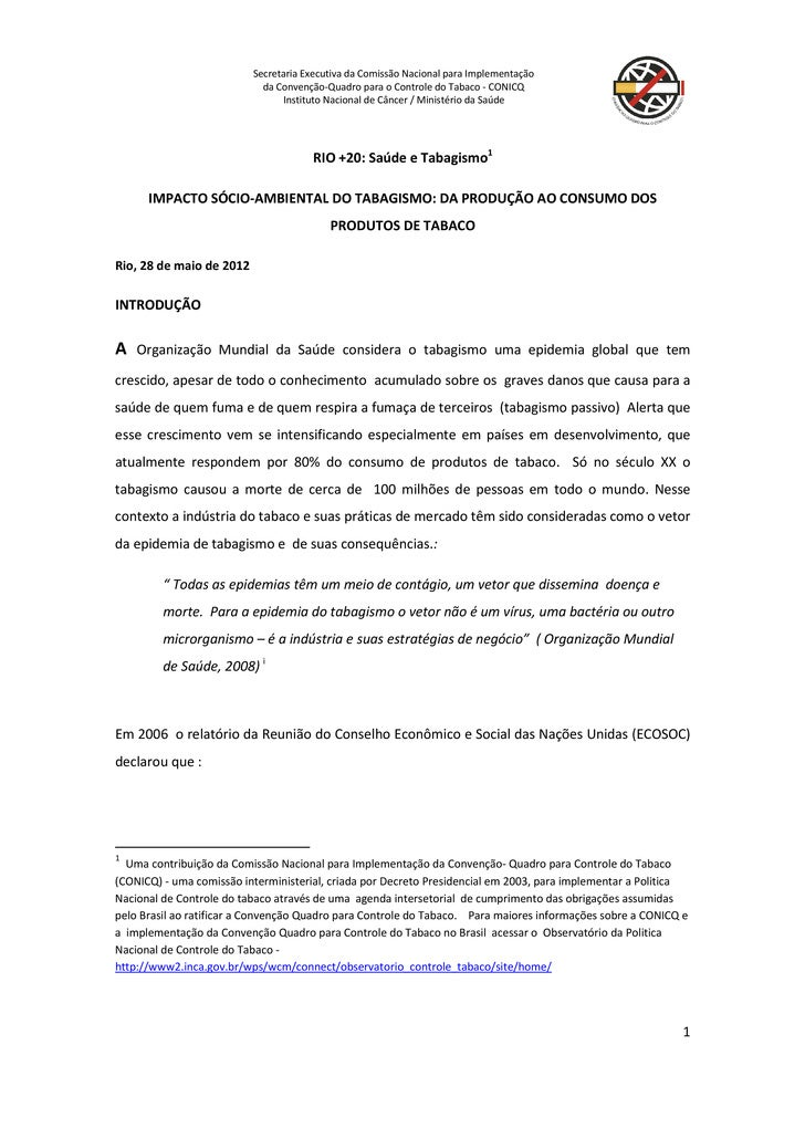 Secretaria Executiva da Comissão Nacional para Implementação                            da Convenção-Quadro para o Control...