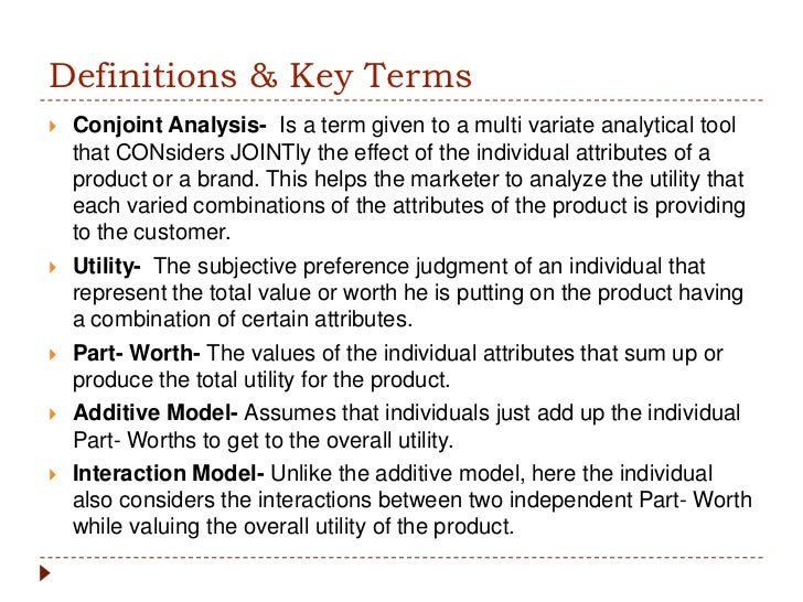 conjoint analysis This technical note provides an overview of conjoint analysis it shows how to interpret standard conjoint analysis output and the uses of that output it provides several examples of how output can be converted to managerially useful information.