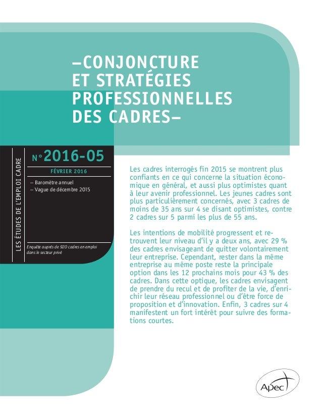 –CONJONCTURE ET STRATÉGIES PROFESSIONNELLES DES CADRES– LESÉTUDESDEL'EMPLOICADRE – Baromètre annuel – Vague de décembre 20...