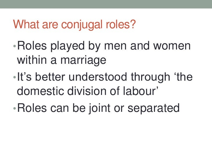conjugal roles Published: wed, 17 may 2017 in the modern day sri lankan society, the concept of caste with its pre-historic background plays different roles is human life, and its role becomes dominant at the juncture of the typical sri lankan marriage.