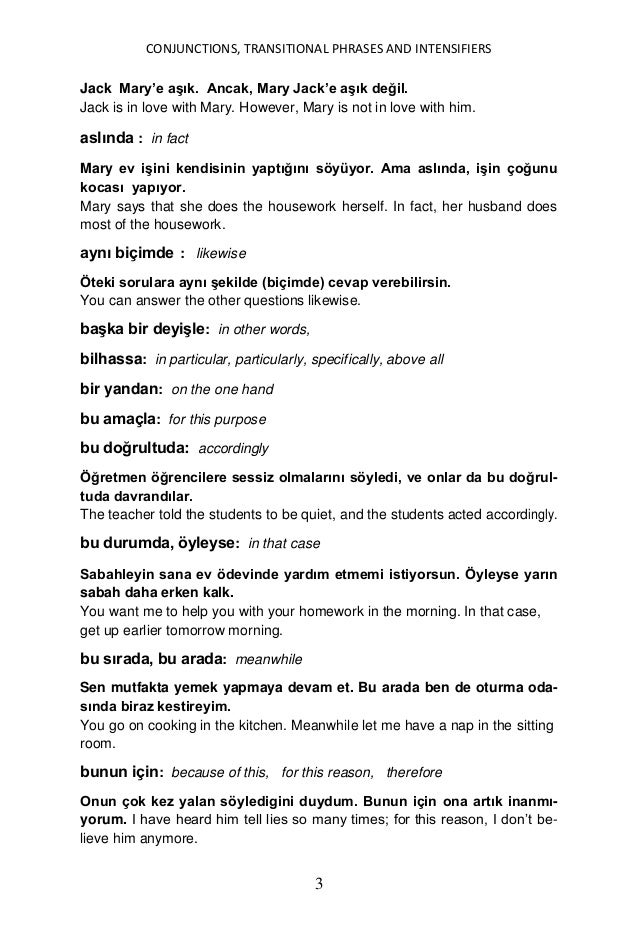 Conjunctions, transitional phrases and intensifiers in turkish yuksel goknel signed Slide 3