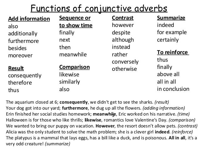 conjunctive adverbs notes