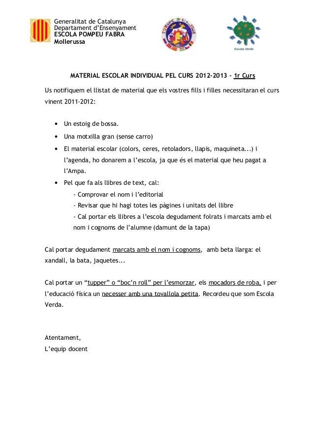 Generalitat de Catalunya   Departament d'Ensenyament   ESCOLA POMPEU FABRA   Mollerussa           MATERIAL ESCOLAR INDIVID...