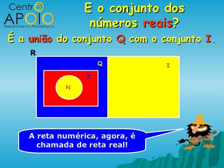 E o conjunto dos                  números reais?É a união do conjunto Q com o conjunto I.    R                     Q      ...